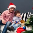 Smiling father and his son on Christmas — Foto Stock
