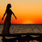 Silhouette of beautiful girl — Stock Photo