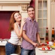 Portrait of a Modern romantic couple preparing — Stock Photo