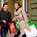 Girlfriends go shopping — Stock Photo