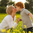 Stock Photo: Mother and Son Having Fun. Son giving flowers to his mother