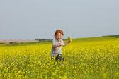 Running ginger boy — Stock Photo