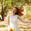 Portrait of autumn happy woman — Stock Photo