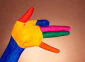 The hand shows the gesture — Stock Photo
