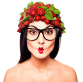 Fun woman with strawberry — Stock Photo