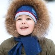 Portrait of  little boy in winter — Stok fotoğraf