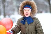 Portrait of little boy in winter — Stock Photo
