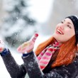 The girl plays with the snow  — Stock Photo #17865599