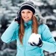 Attractive young woman in winter — Foto de Stock