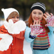 Snowball fight. - Stock Photo