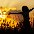 Young girl in a jump on the sunset. - Stock Photo