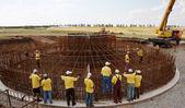Construction of a wind turbine — Stock Photo