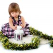 Little girl playing with baubles — Foto Stock
