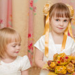 Stock Photo: Two Little girls with bouquet