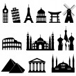 Travel landmarks and monuments — Stock Vector