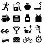 Fitness, health and diet icons — 图库矢量图片