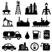 Conjunto de iconos de la industria de aceite — Vector de stock