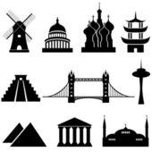 Monumentos y lugares de interés mundial — Vector de stock