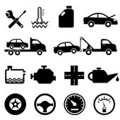 Auto, mechanic en onderhoud pictogrammen — Stockvector