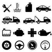 Icônes de voiture, mécanicien et entretien — Vecteur