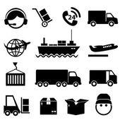 Conjunto de iconos de transporte y carga — Vector de stock