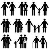 Jeu d'icônes famille — Vecteur