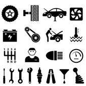 Icônes de maintenance et de réparation de voiture — Vecteur