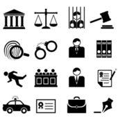 Rättsliga, lag och rättvisa ikoner — Stockvektor