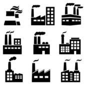 Nave industrial, fábrica y plantas de energía — Vector de stock