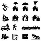 Insurance and disaster icons — Stock Vector