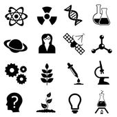 Science, biology, physics and chemistry icon set — Stock Vector