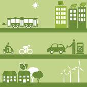 Alternative fuel and solar buildings — Stock Vector