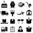 Cargo and shipping icons — Imagen vectorial