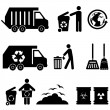 Trash and garbage icons — Stock vektor