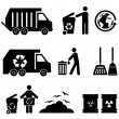 Trash and garbage icons — Stock Vector