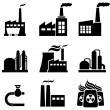 Power plants, factories and industrial buildings — Stock Vector