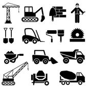 Construction and industrial machinery icons — Stock Vector