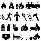 Fire related icon set — Stock Vector