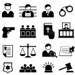 Legal, justice and court icons — Stock Vector