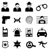 Police and crime icons — Stock Vector