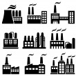 Industrial buildings, factories, power plants — Stockvectorbeeld