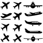 самолеты в черном — Cтоковый вектор