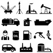 Oil, petroleum and gasoline icons — Stock Vector #50683697