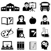 Learning, school and education icons — Stock Vector