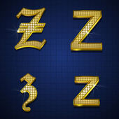 Luxurious gold diamonds alphabets — Stock Vector