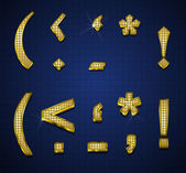 Luxurious gold diamonds alphabets — Stock Vector