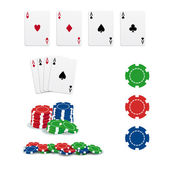 Poker cards and chips — Stockvektor
