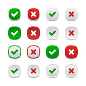 Rounded square validation buttons — Stock Vector
