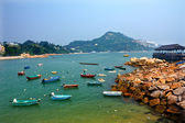 Boats Stanley Harbor Pier Ferry Dock Hong Kong — Stock Photo
