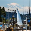 White Sailboat Entering Gig Harbor Mount Ranier Washington State — Stock Photo